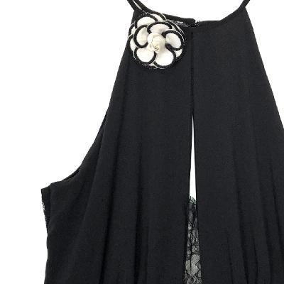 rose halter neck dress black
